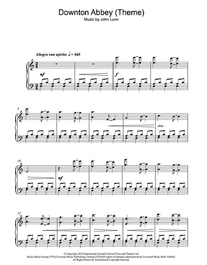 Downton Abbey sheetmusic download