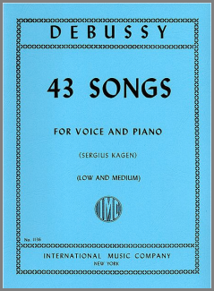 Debussy 43 songs medium low voice music book
