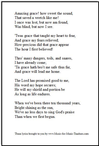 Amazing Grace lyrics printable downloadable PDF