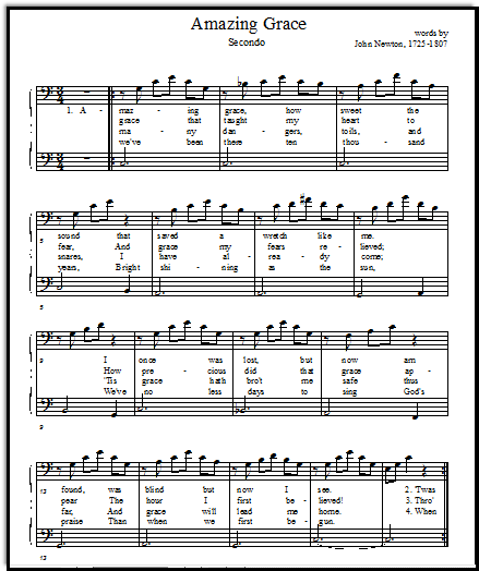 Amazing Grace free printable music sheets duet secondo, Music-for-Music-Teachers.com