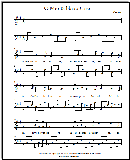O mio babbino easy sheet music for voice and piano