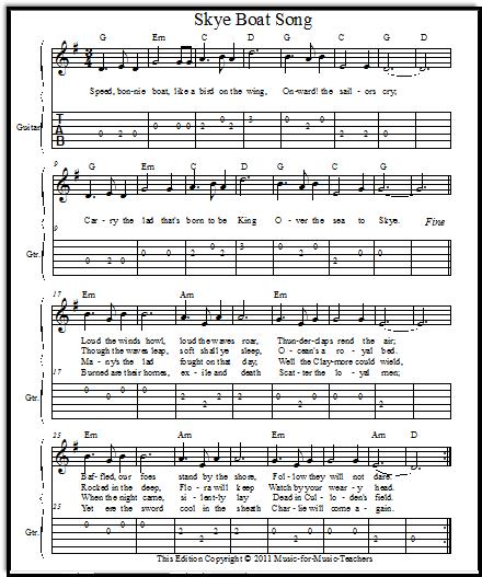 Piano Sheet Music For Shenandoah: Skye Boat Song Free Vocal Sheet Music With Free Guitar