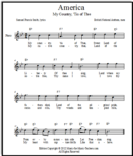 america my country tis of thee free lead sheets music