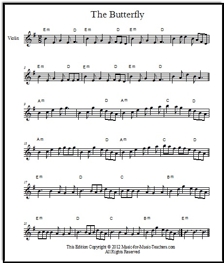 free irish fiddle sheet music The Butterfly
