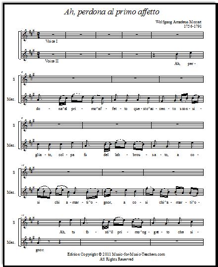Mozart opera duet  Ah perdona