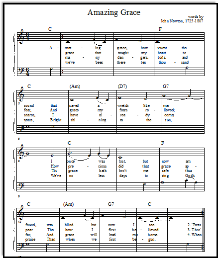 Amazing Grace melody or duet primo, Music-for-Music-Teachers.com