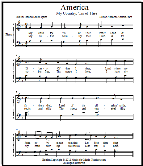 America: My Country, 'Tis of Thee sheet music for late elementary piano