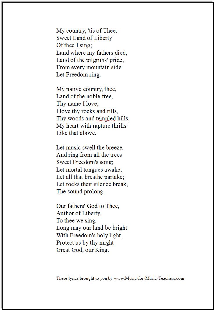 America lyrics for singing