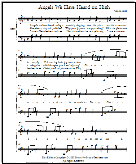 Angels We Have Heard on High, a piano arrangement with solid chords in the verses, and running broken chords in the left hand in the chorus.