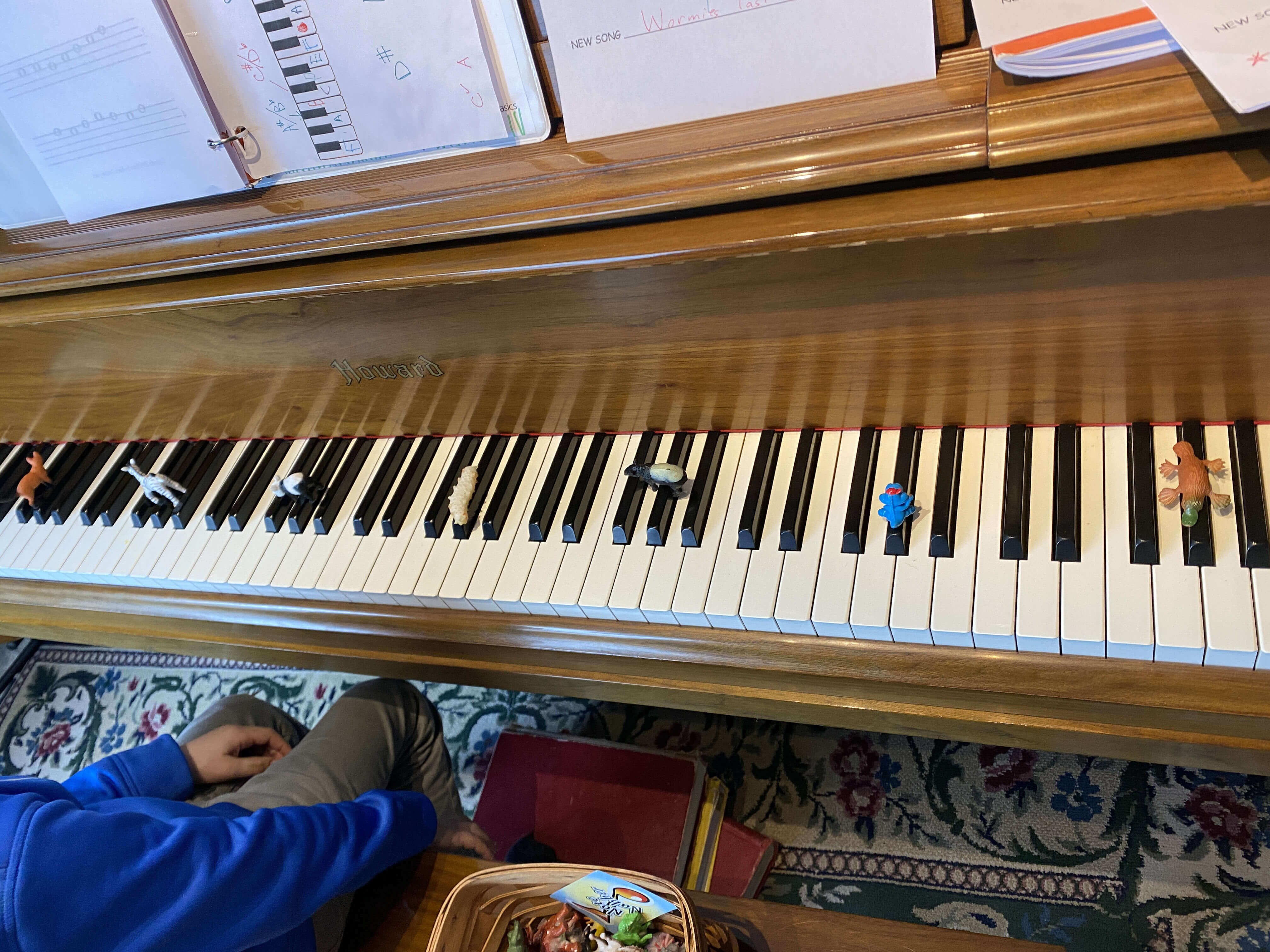Piano keyboard with plastic animals placed on black keys