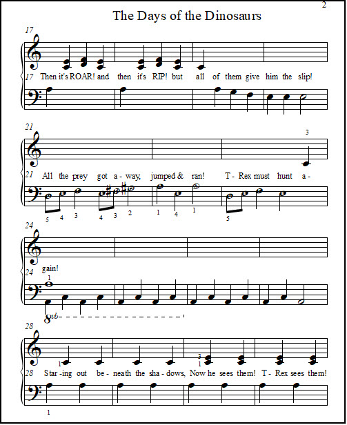 Dinosaur song lyrics about a T-rex hunting, but failing to catch his prey.  With sheet music for beginner piano.