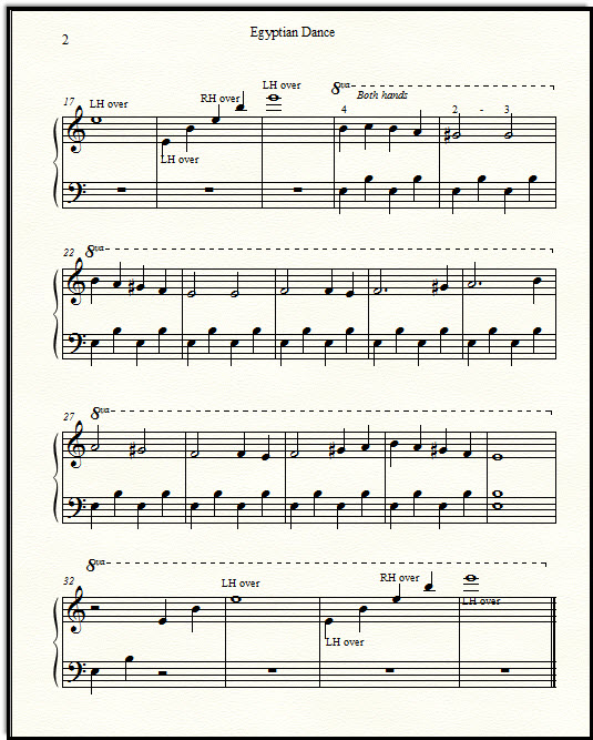 Free classical sheet music Egyptian Dance, for piano.  Very easy.