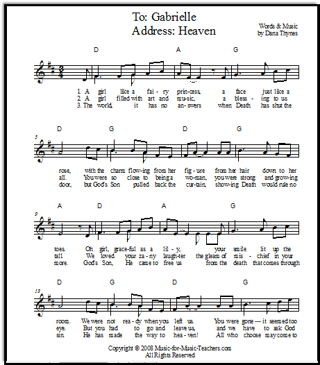 Song for a memorial service for a young girl