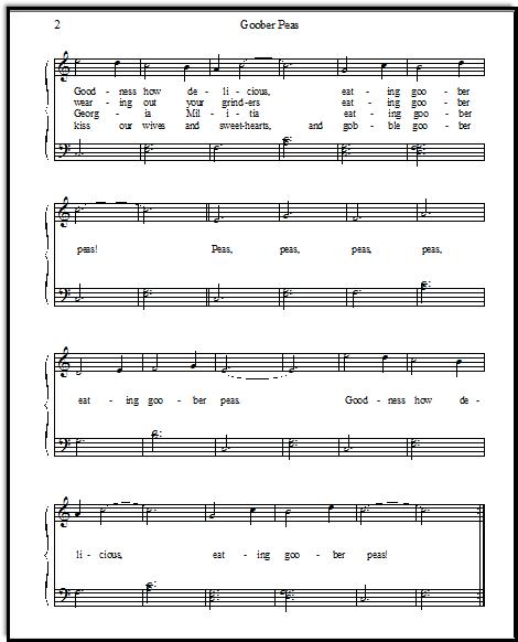 Goober Peas for easy piano
