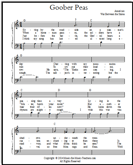 Goober Peas, a Southern song about peanuts, arranged for early piano.