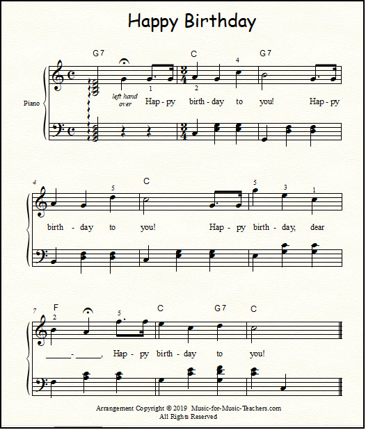 Free Sheet Music for Teachers of Piano, Voice, and Guitar