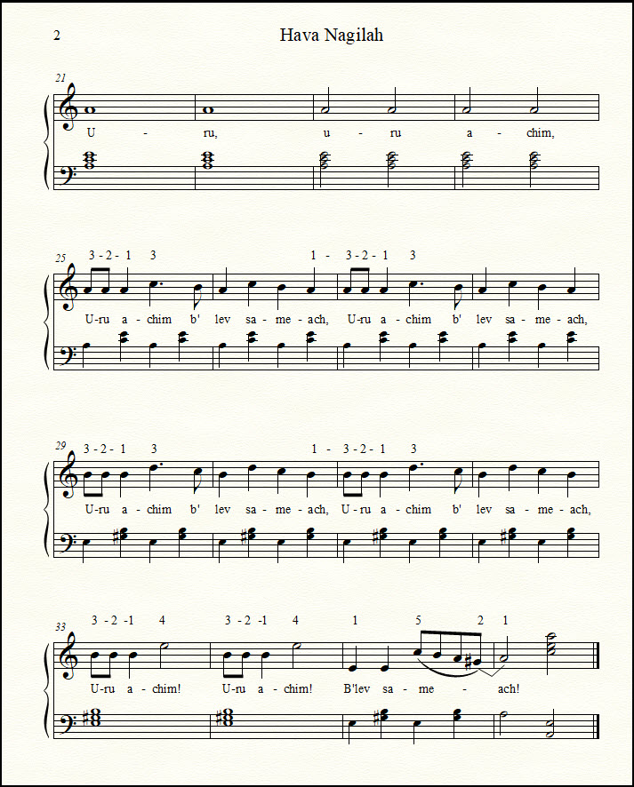 Hebrew song for piano