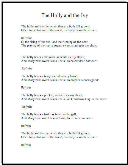 Christmas song lyrics for The Holly and the Ivy, just the words