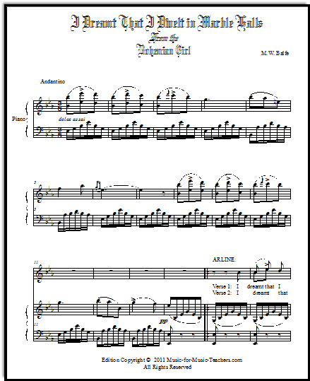 Full Score I Dreamt That I Dwelt in Marble Halls sheet music