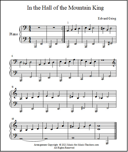 piano sheet music by Grieg
