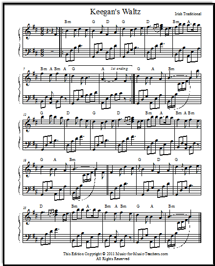 Irish piano sheet music Keegan's Waltz