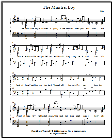 The Minstrel Boy sheet music for piano and voice