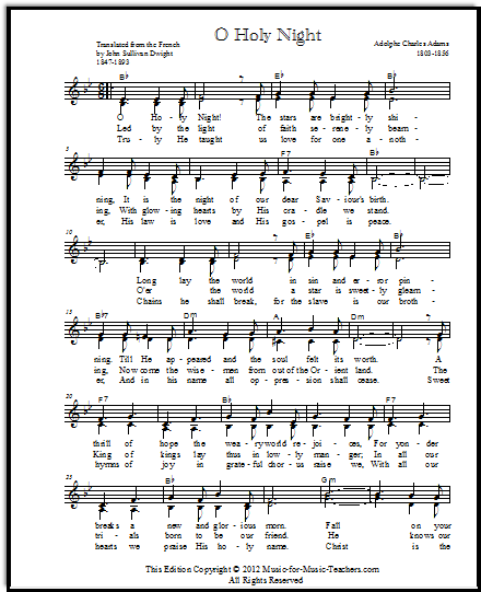 O Holy Night Sheet Music Chords Lyrics Free