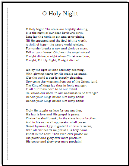 Oh Holy Night lyrics, Music-for-Music-Teachers.com