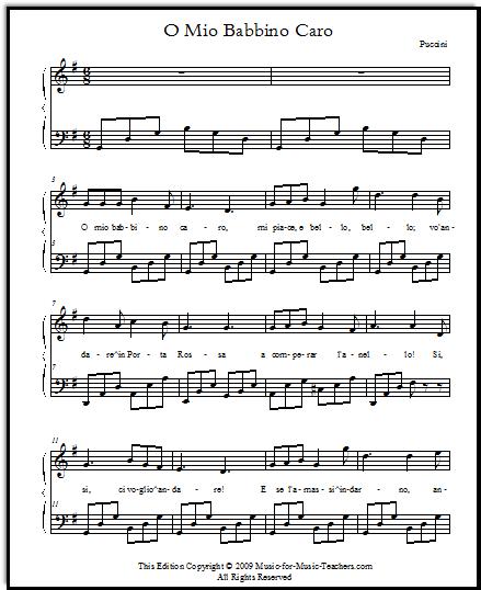 O mio babbino easy sheet music for voice and piano