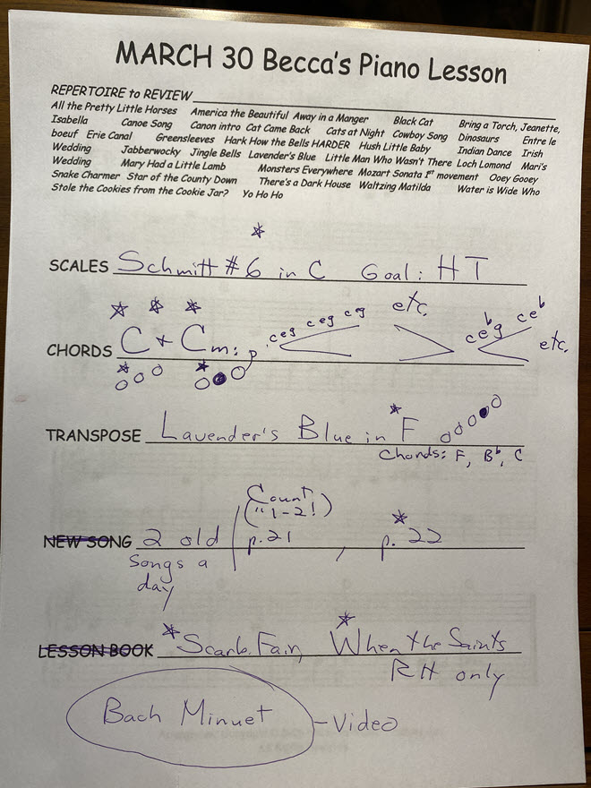 A student's lesson sheet with weekly assignments