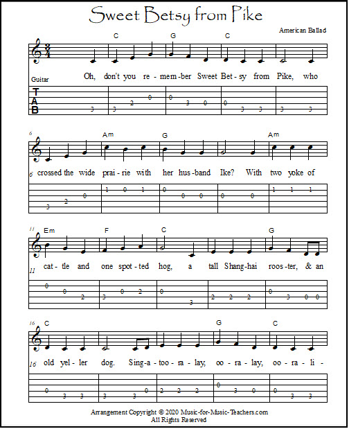 Key of C version of Sweet Betsy From Pike for beginner guitar