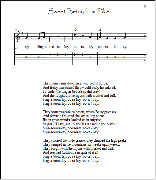 Page 2 of guitar tabs and chords and lyrics for Sweet Betsy From Pike