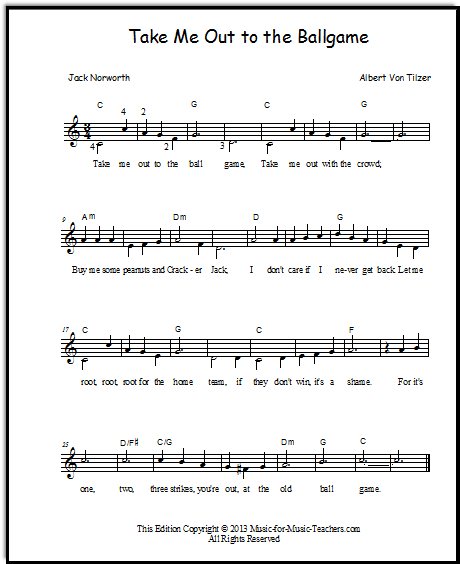 Take Me Out to the Ballgame for beginner piano students, a DUET!