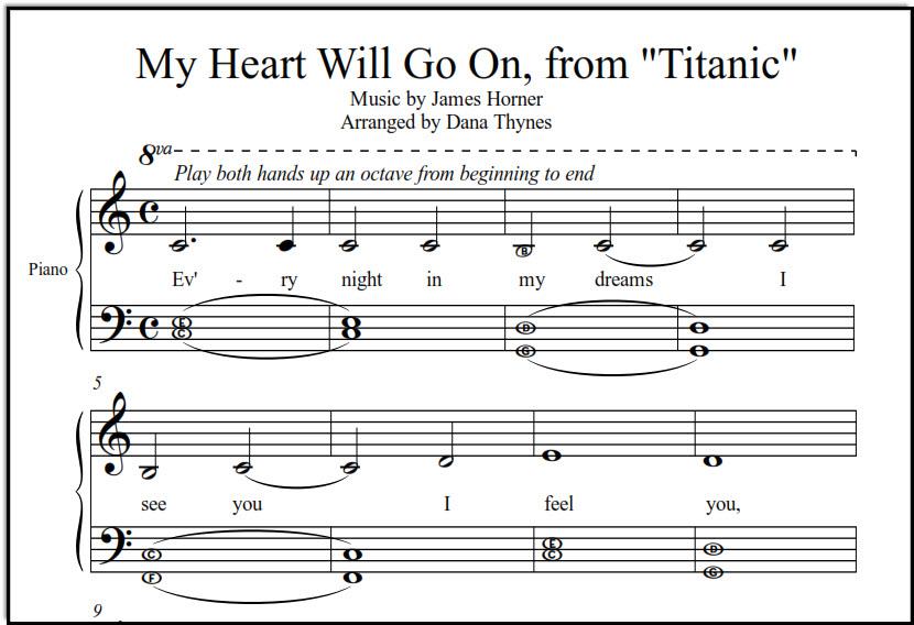 Titanic music for piano