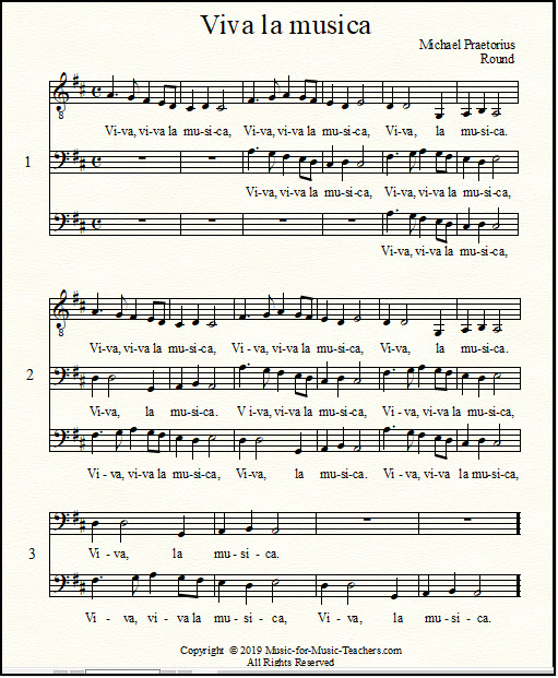 Viva la musica singing round in the key of D sheet music for lower voices, with bass clef