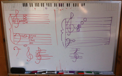 Drawing music notation with students