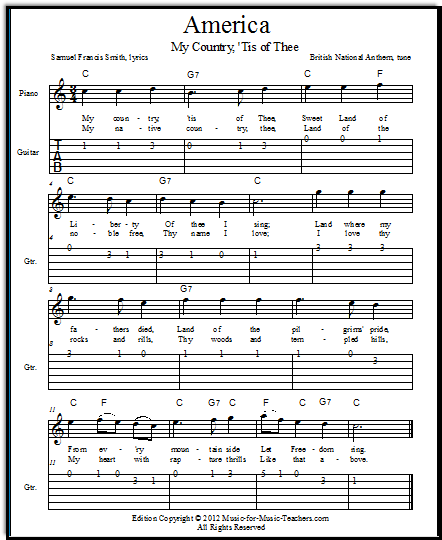 Easy guitar tabs for America, My Country Tis of Thee