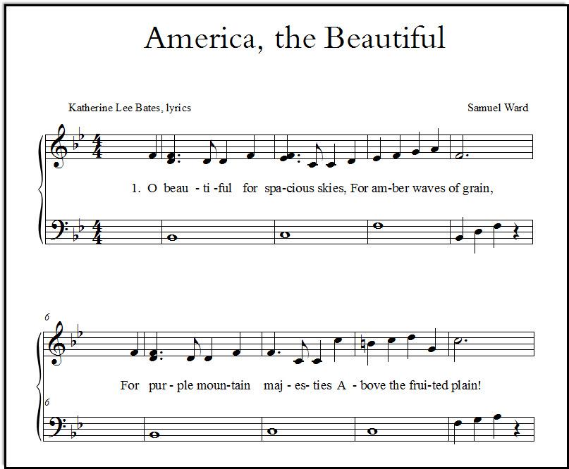 A closeup look at a piano arrangement of America the Beautiful