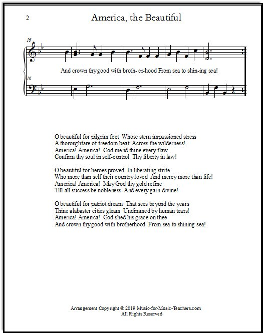 Page two of an easy piano version of O Beautiful for spacious skies