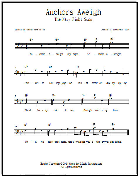 Navy Fight Song for bass clef instruments