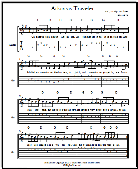 Lead sheet with guitar tabs for Arkansas Traveler