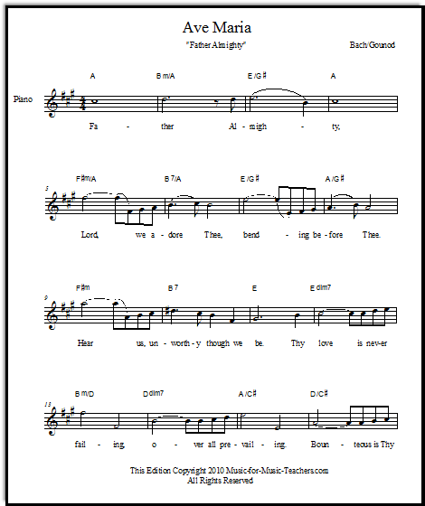 free Ave Maria sheet music in English