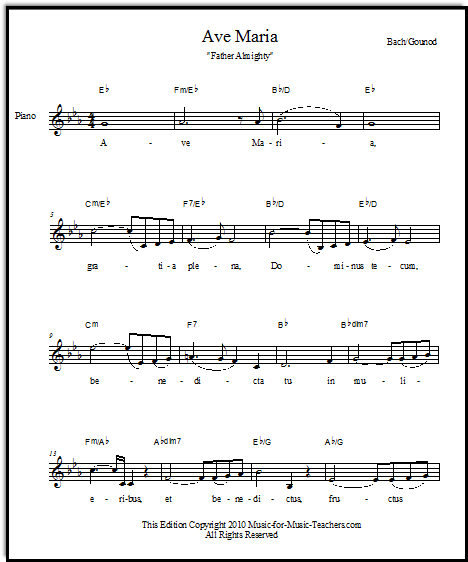free Ave Maria sheet music, Music-for-Music-Teachers.com
