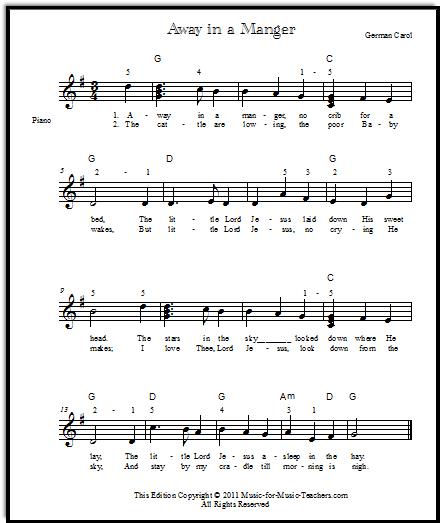lyrics for Away in a Manger, Music-for-Music-Teachers.com