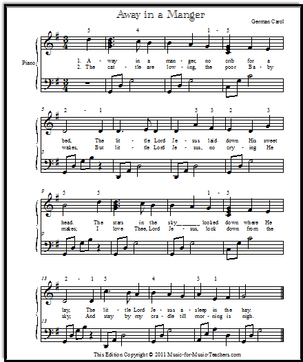 Away in a Manger Christmas song for piano, with broken chords in the left hand.