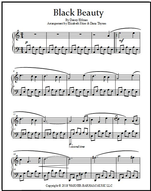 Black Beauty movie sheet music