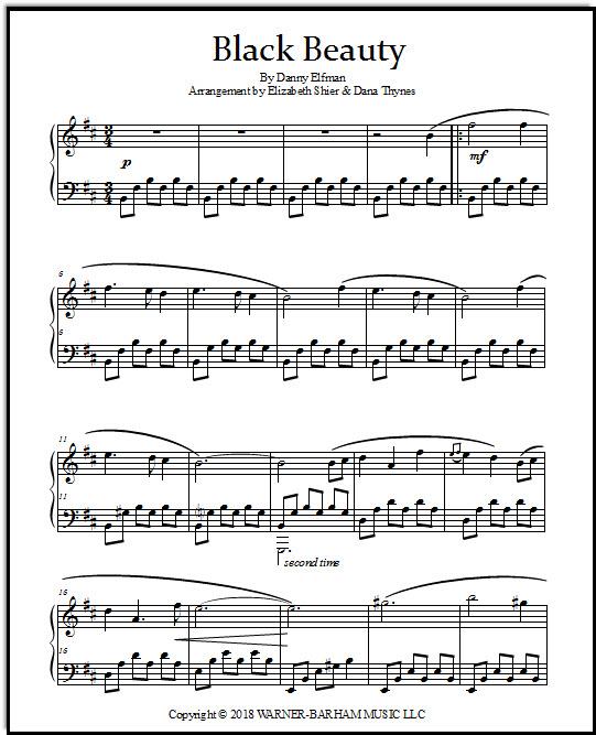 Black Beauty Theme sheet music for piano