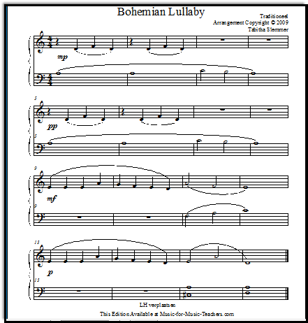 Bohemian Lullaby from Europe, a pretty little piano piece
