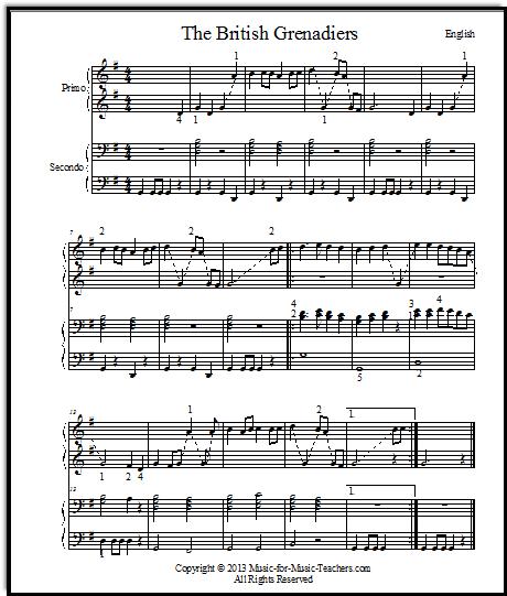 duet music for piano British Grenadiers
