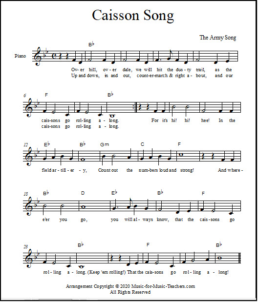 Sheet music for the Army Theme Song